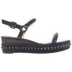 CHRISTIAN LOUBOUTIN Cataclou black studded espadrille jute platform sandals EU38
