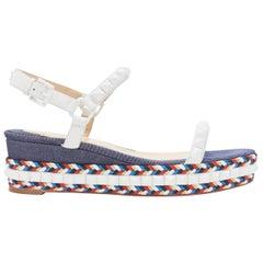 CHRISTIAN LOUBOUTIN Cataclou embroidery denim studded espadrille sandals EU39