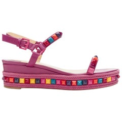 CHRISTIAN LOUBOUTIN Cataclou purple embroidery studded espadrille sandals EU39