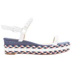 CHRISTIAN LOUBOUTIN Cataclou white denim stud espadrille platform sandals EU38