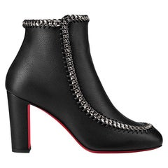 Christian Louboutin Chain-Trimmed Leather Ankle Boots