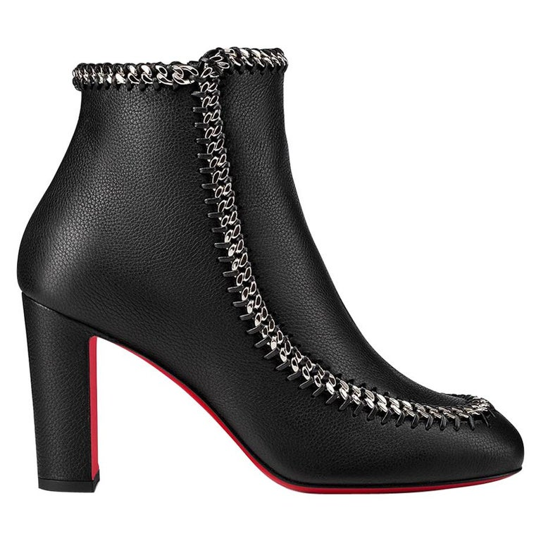 Christian Louboutin Chain-Trimmed Leather Ankle Boots  For Sale