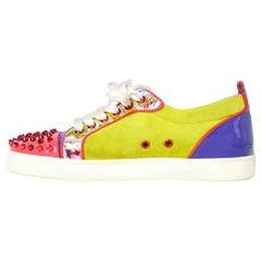 Christian Louboutin Chartreuse/Purple Louis Junior Spike Sneakers sz 40.5