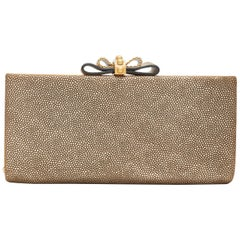 CHRISTIAN LOUBOUTIN Cleo gold pebbled leather chain bow long box clutch