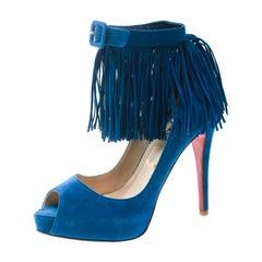 Christian Louboutin Cobalt Blue Suede Detail Ankle Strap Peep Toe Pumps Size 37