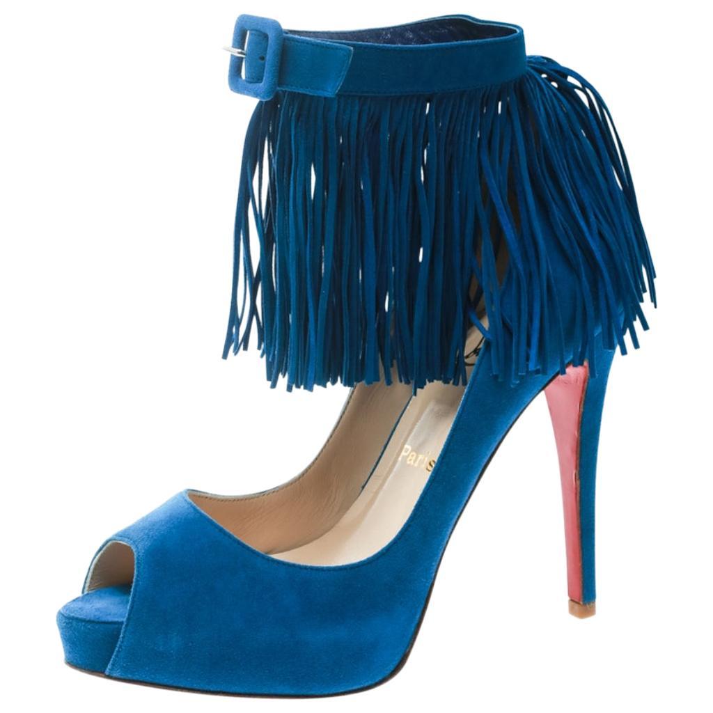 Christian Louboutin Cobalt Blue Suede Tina Fringe Detail Peep Toe Pumps Size 37