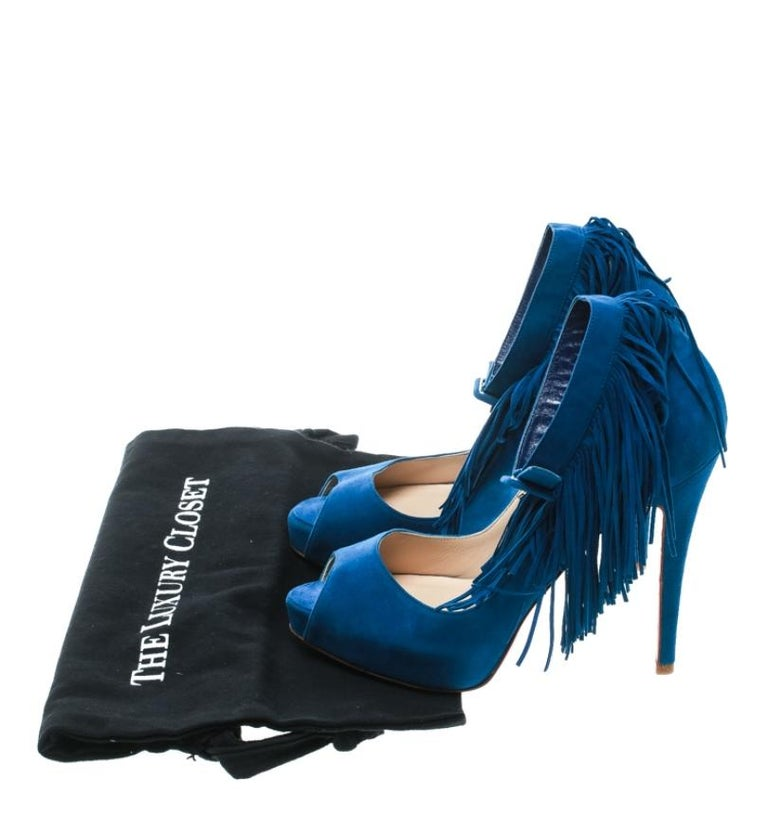 Christian Louboutin Cobalt Blue Tina Fringe Detail Peep Toe Pumps Size 37 For Sale 4