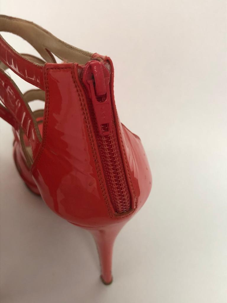 Women's CHRISTIAN LOUBOUTIN Coral Patent cage bootie For Sale