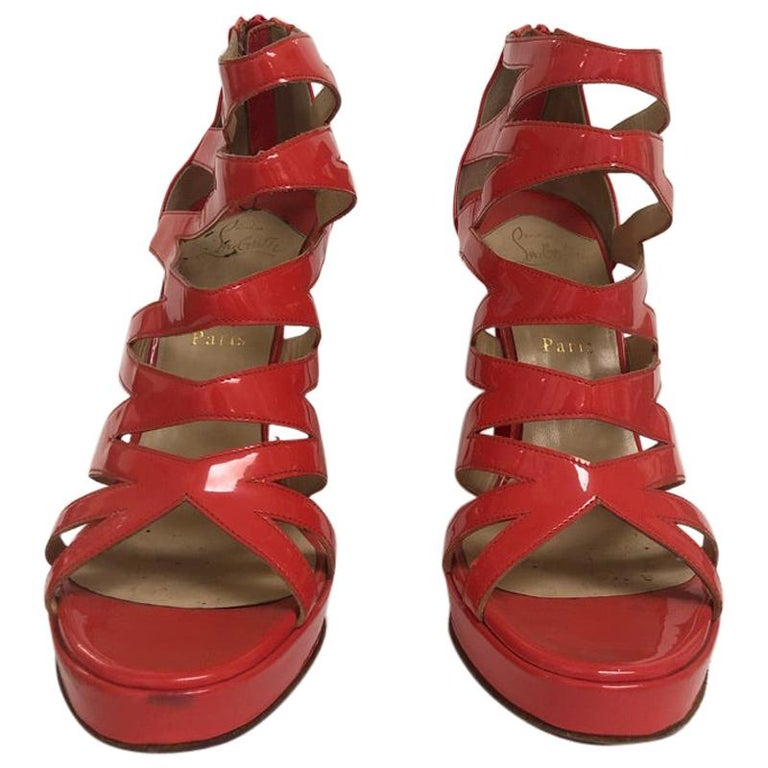 CHRISTIAN LOUBOUTIN Coral Patent cage bootie For Sale