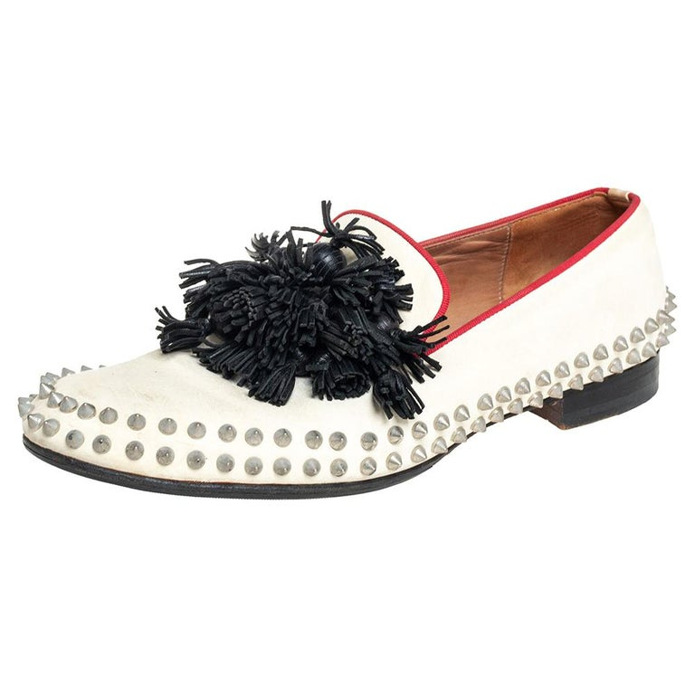Christian Louboutin Cream Leather Tassel Loafers Size 41 For Sale