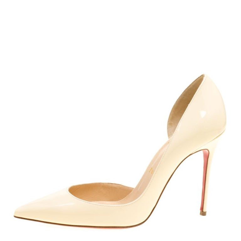 finest selection 55208 a9fee Christian Louboutin Cream Patent Leather Iriza D'orsay Pointed Toe Pumps  Size 38