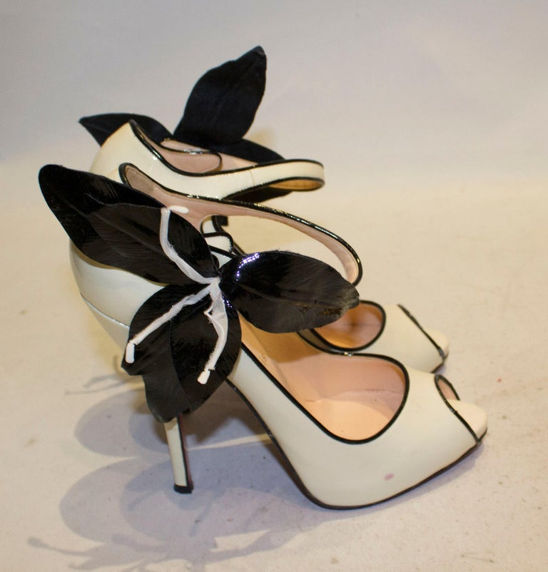 Christian Louboutin Cream Patent Leather Shoes with Peep Toes and Ankle Strap For Sale 1