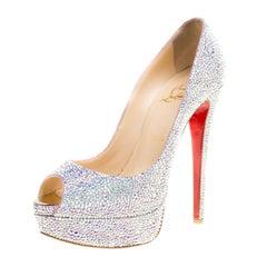 Christian Louboutin Crystal Embellished Lady Peep Toe Aurora Boreale Platform Pu