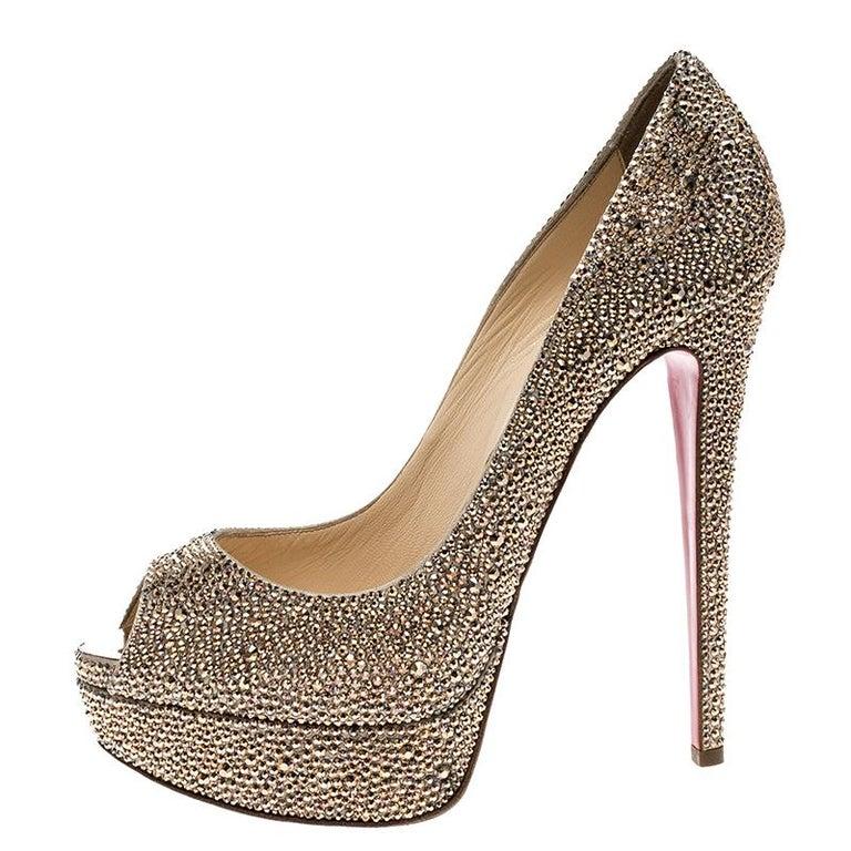 info for b5d14 7ab48 Christian Louboutin Crystal Embellished Lady Peep Toe Platform Pumps Size 38