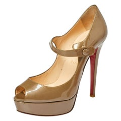 Christian Louboutin Dark Beige Patent Leather Bana Mary Jane Pumps Size 38.5