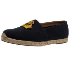 Christian Louboutin Dark Blue Canvas Gala Espadrille Slip On Loafers Size 43