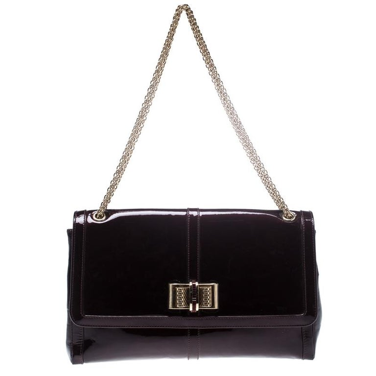 d53f18c4fbee Christian Louboutin Dark Burgndy Patent Leather Large Sweet Charity  Shoulder Bag For Sale