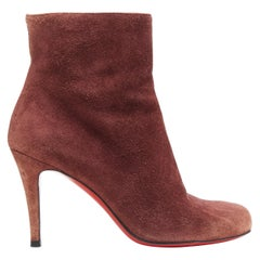 CHRISTIAN LOUBOUTIN Eloise 85 brown suede round toe slim heel ankle bootie EU36