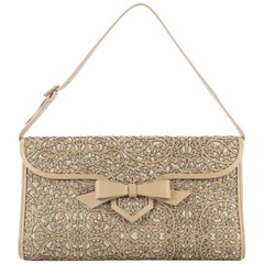 Christian Louboutin Evita Pampas Clutch Laser Cut Leather and Canvas