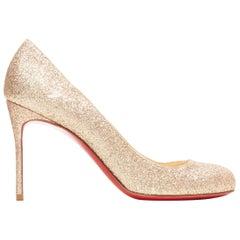 CHRISTIAN LOUBOUTIN Fifi 85 gold fine glitter round toe slim heel pump EU37