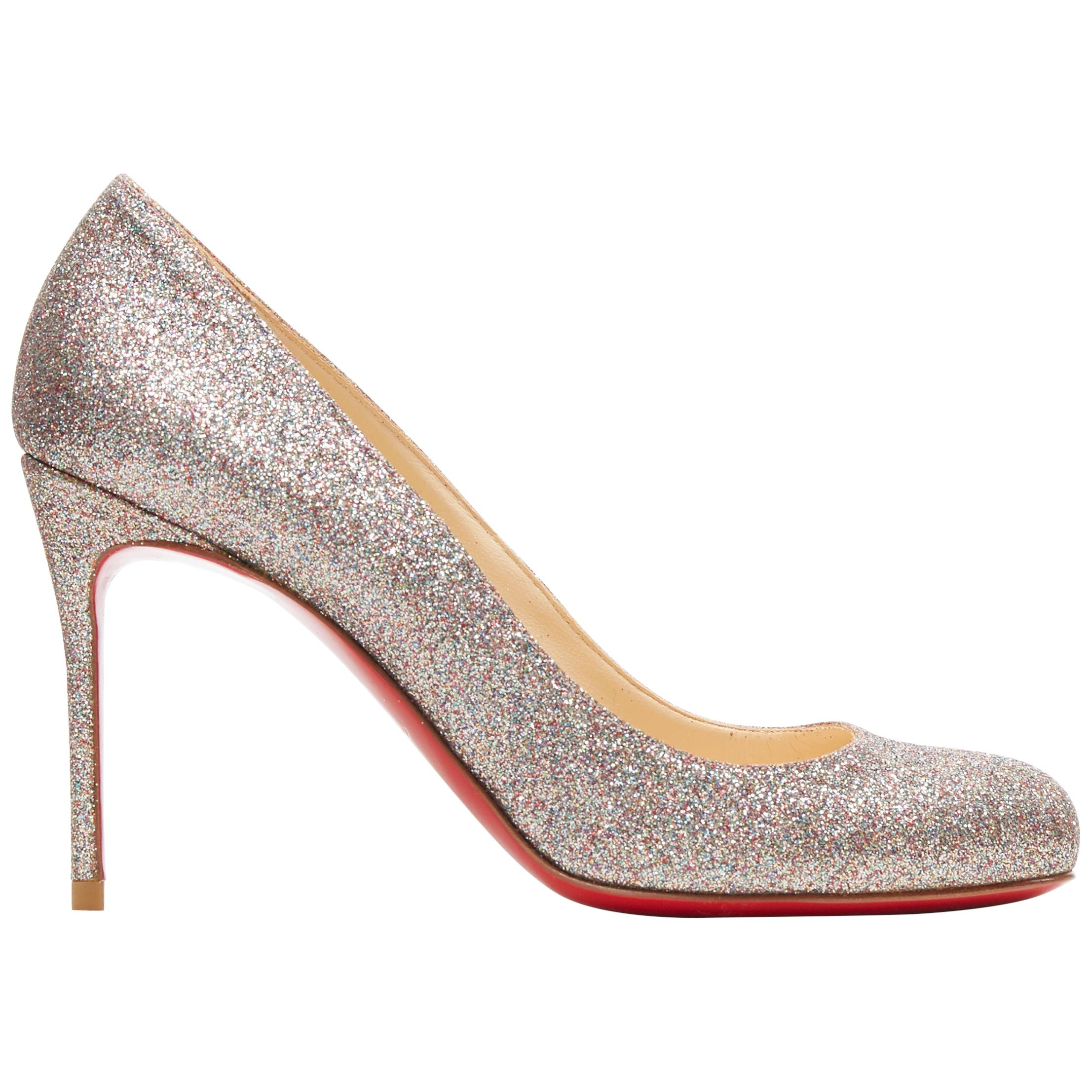 CHRISTIAN LOUBOUTIN Fifi 85 silver fine glitter round toe slim heel pump EU37