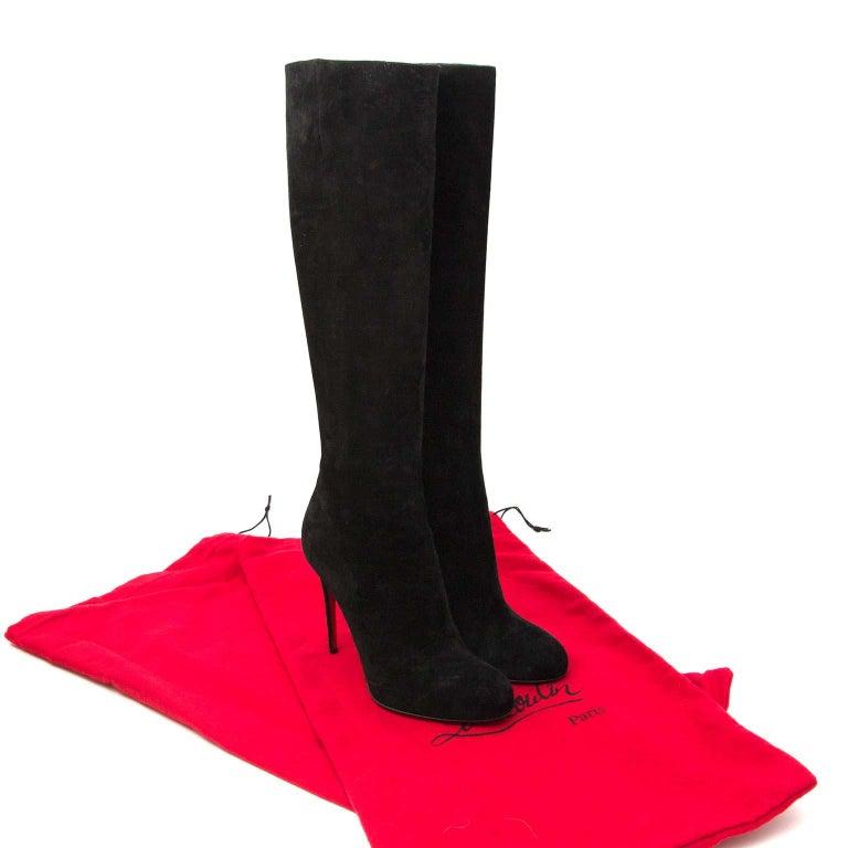 timeless design 0fd2e 6c3f1 Christian Louboutin 'Fifi' Black Suede Boots - size 37.5