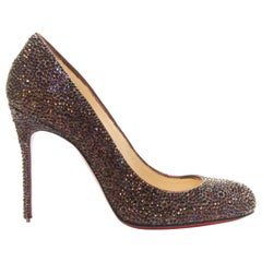 CHRISTIAN LOUBOUTIN Fifille 100 purple crystals embellished high heel pumps EU35