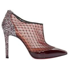 CHRISTIAN LOUBOUTIN Fillette 100 maroon patent mesh glitter heel bootie EU36