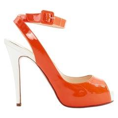 CHRISTIAN LOUBOUTIN fluorescent orange peep toe platform ankle wrap heel EU37