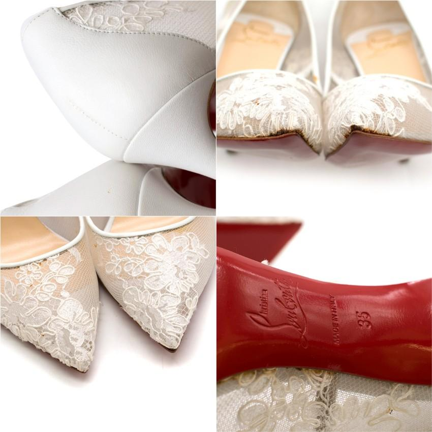 4548de2cff85 Christian Louboutin Follies Lace 100mm White Pumps US 5 at 1stdibs