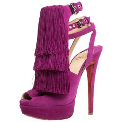 Christian Louboutin Fuchsia Suede Change Of The Guard Cross Ankle Size 36
