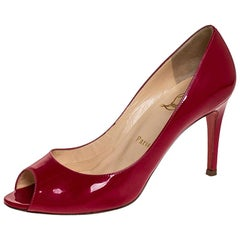 Christian Louboutin Fuschia Patent Leather Maryl Peep Toe Pumps Size 37