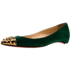 Christian Louboutin Geen And Gold Spike Cap Toe Geo Toe Ballet Flats Size 37