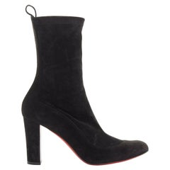 CHRISTIAN LOUBOUTIN Gena 85 black stretch suede chunky heel sock boot EU38.5