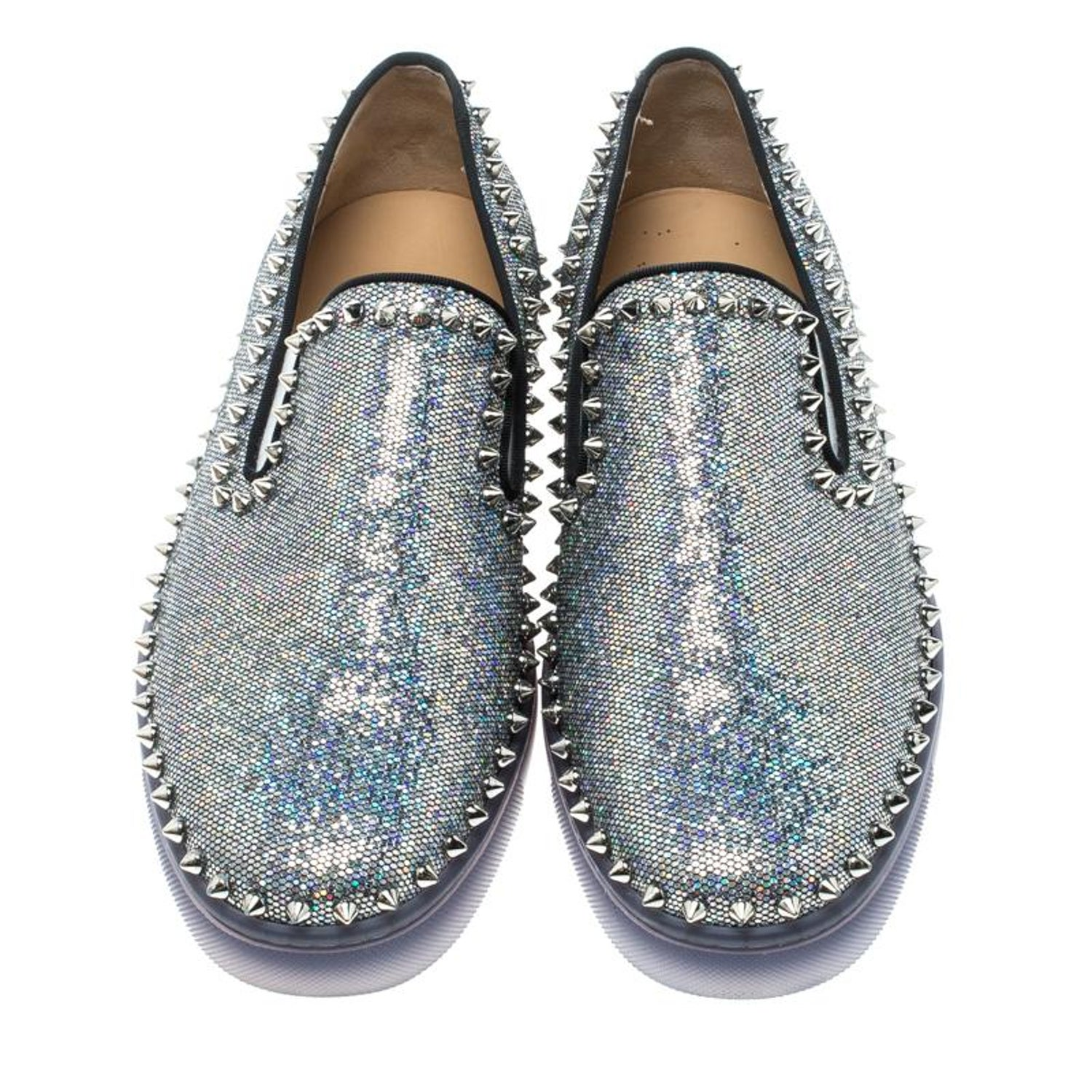 2842885629aac Christian Louboutin Glitter Disco Ball Spike Pik Boat Slip On Sneakers Size  42 For Sale at 1stdibs