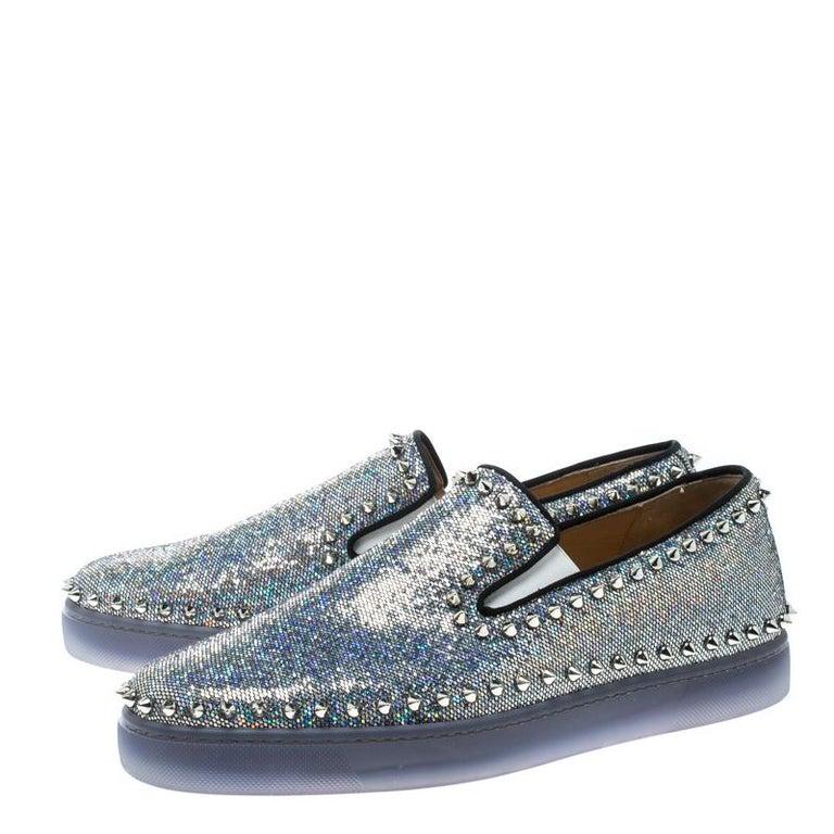 3da8af33713 Christian Louboutin Glitter Disco Ball Spike Pik Boat Slip On Sneakers Size  42