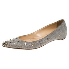 Christian Louboutin Glitter Fabric Degraspike Pointed Ballet Flats Size 36