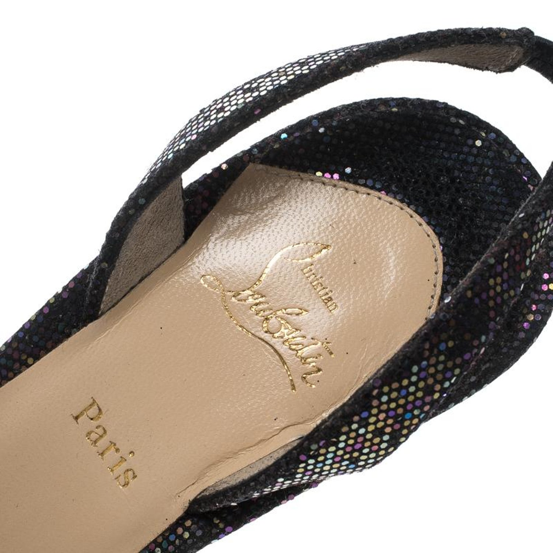 6b80f30cbb3 Christian Louboutin Glitter Grusanda Bow Sling Back Spotlight Sandals Size  38 For Sale at 1stdibs