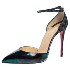 Christian Louboutin Glitter  Patent Leather Uptown Ankle Strap Sandals Size 39