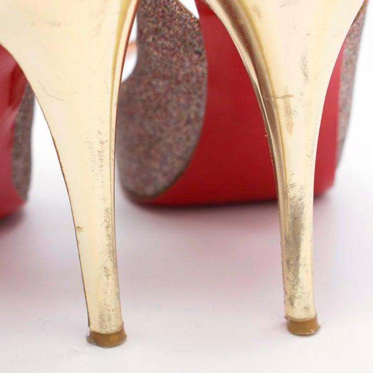 Christian Louboutin Glitter Peep Toe Pumps US 7 For Sale 5