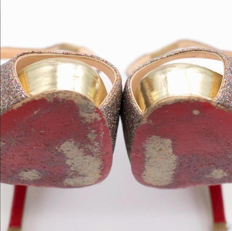 Christian Louboutin Glitter Peep Toe Pumps US 7 For Sale 1