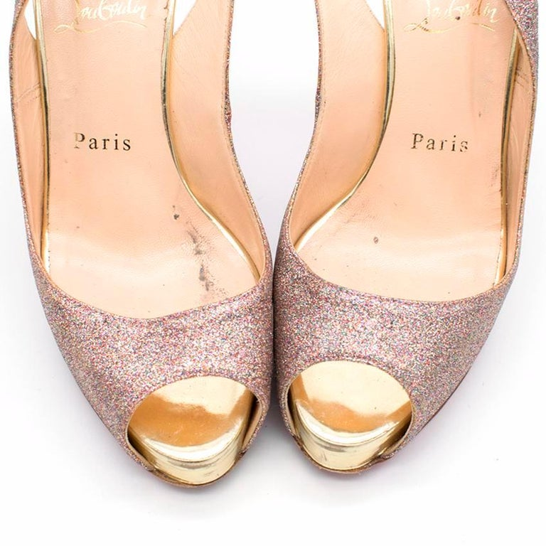 Christian Louboutin Glitter Peep Toe Pumps US 7 For Sale 3