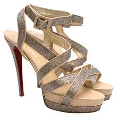 Christian Louboutin Glitter Straratata Strappy Platform Sandals SIZE 42