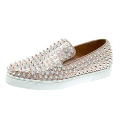 Christian Louboutin Glitter Suede Roller Boat Spiked Slip On Sneakers Size 37
