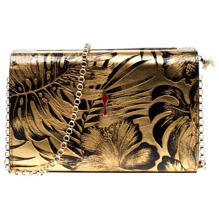907d9f1a743 Christian Louboutin Gold/Black Floral Chain Clutch