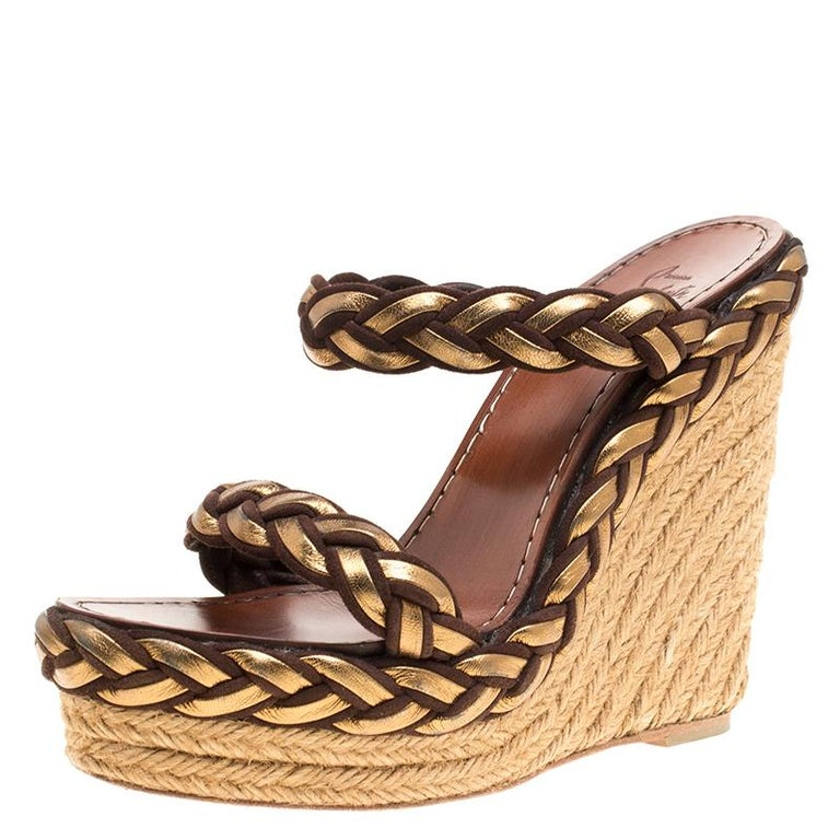 meet c0dc0 e496f Christian Louboutin Gold/Brown Leather and Suede Braided Espadrille Wedge  Size 3