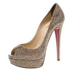 Christian Louboutin Gold Crystal Embellished Lady Peep Toe Platform Pumps Size38