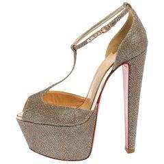 Christian Louboutin Gold Fabric Nencheritza T Strap Platform Sandals Size 35.5