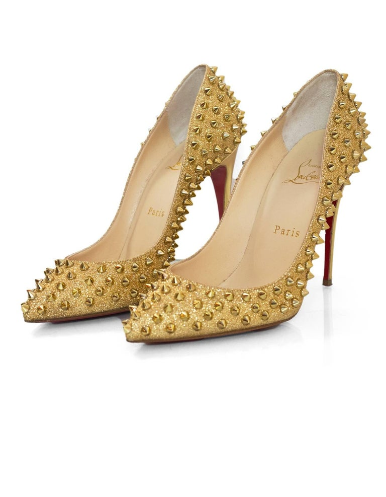 top fashion 609a6 e05fc Christian Louboutin Gold Glitter Follies Spikes 100 Pumps with Box, DB