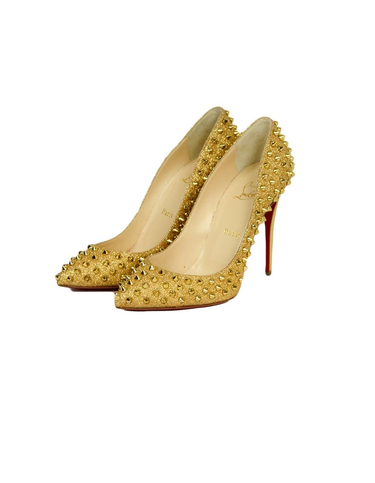 best service bfc04 f388e Christian Louboutin Gold Glitter Pigalle Follies 120 Spike-Studded Pumps sz  39